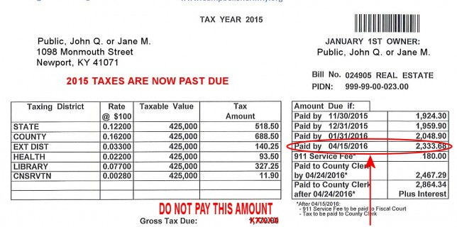 "2015 Taxes are in the final ""Past Due"" period.  Please pay to avoid collections."