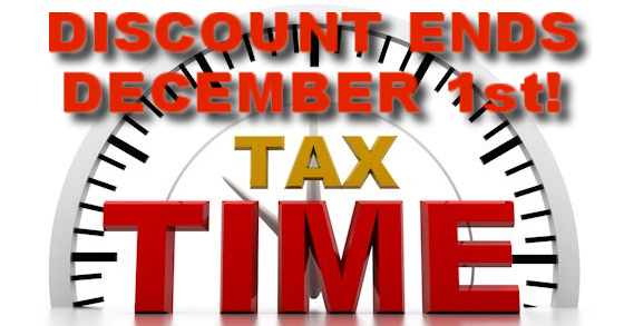November 30th is the last day to receive the 2% discount on County property taxes.