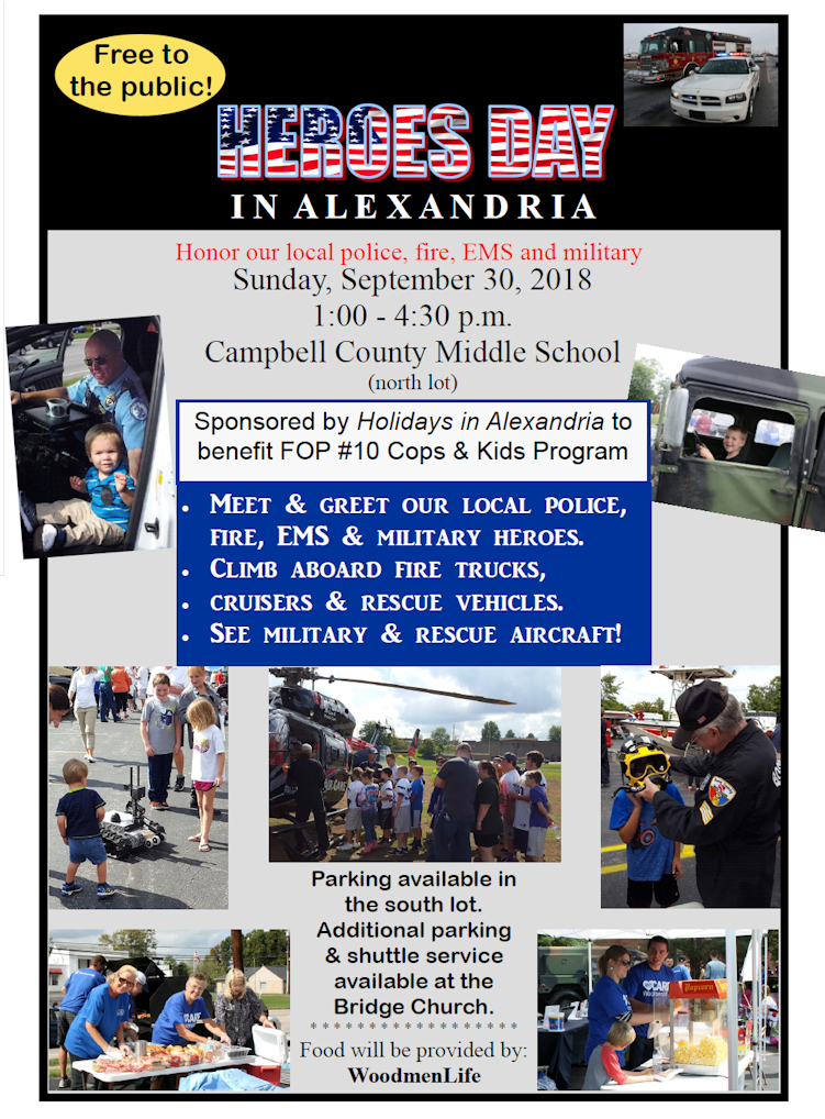 Come out to Hero's Day in Alexandria September 30th